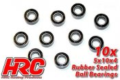 Ball Bearings - metric - 5x10x4mm Rubber sealed (10 pcs)