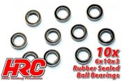 Ball Bearings - metric - 6x10x3mm Rubber sealed (10 pcs)