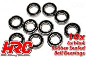 Ball Bearings - metric - 8x14x4mm Rubber sealed (10 pcs)