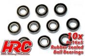 Ball Bearings - metric - 8x16x5mm Rubber sealed (10 pcs)