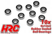 Ball Bearings - metric - 6x13x5mm Rubber sealed (10 pcs)